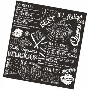 DDDDD Theedoek Italian food zwart 60*65cm 10% korting