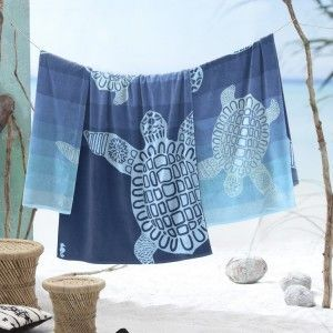 Sale* Strandlaken Seahorse Turtle Blue