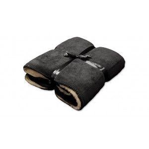 Unique Living fleece plaid Antracite/wit